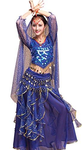 Indische Dance Fancy Kostüm - Astage Damen Lange Hülsen Indischer Tanz Top Paillette Bauchtanz Kostüm Set Königsblau