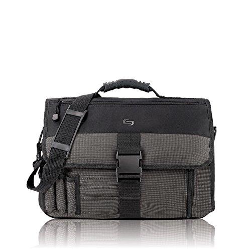 Solo Messenger Fall erweiterbar Polyester mit Reißverschluss und Gurt W405X D145x h305mm schwarz und grau ref p2t-10/4