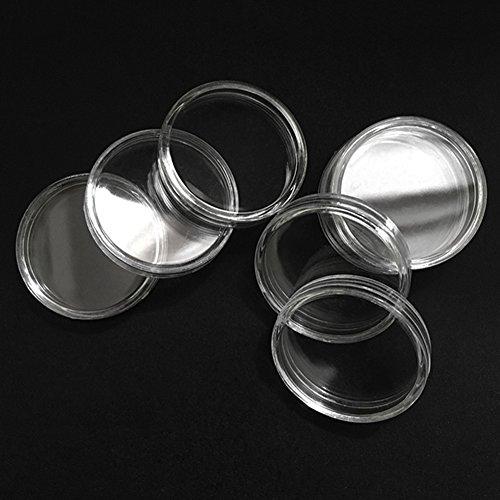 50 stücke 44mm münz kapseln runde münzfall acryl münze vitrine kunststoff bitcoin sammlung halter lagerbehälter für sammler von yunhigh - 6