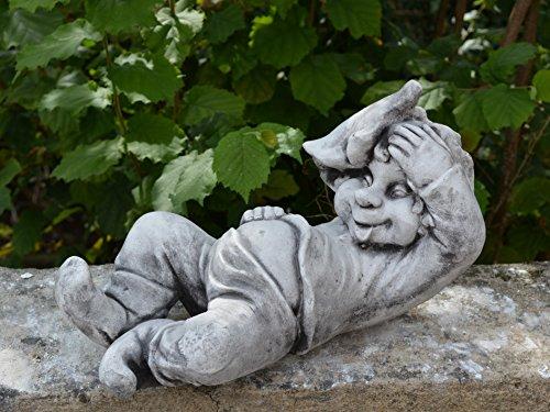 """Lustiger Gnom """"ich, der Faulpelz"""" aus Steinguss, frostfest - 4"""