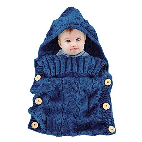 Ownbopo, coperta avvolgente per neonati colorata, fatta a maglia, sacco nanna per passeggino, per neonati da 0 a 12 mesi blue