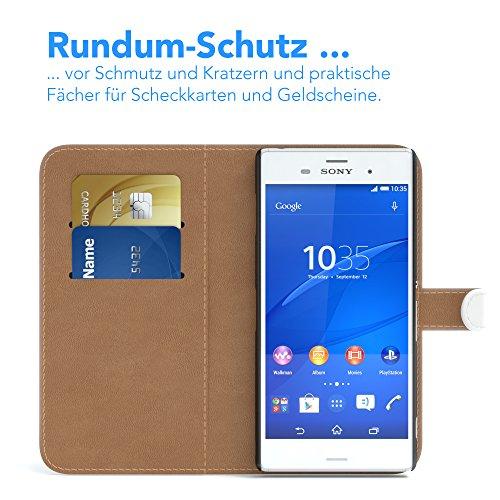 Sony Xperia Z3 Hülle - EAZY CASE Premium Flip Case Handyhülle - Schutzhülle aus Leder in Braun Weiß (Book)