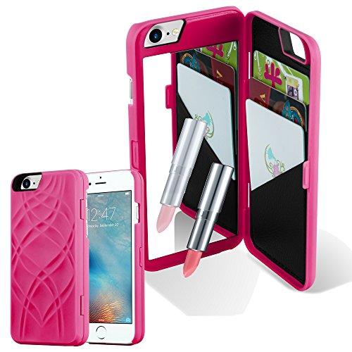 Preisvergleich Produktbild Cadorabo Hülle für Apple iPhone 7 / iPhone 7S / iPhone 8 - Hülle in PINK – Handyhülle mit 3 Kartenfächern und Spiegel - Hard Case TPU Silikon Schutzhülle