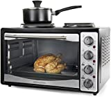 Andrew James Large 33 Litre Capacity Black Mini Oven And Grill With Double Hot Plates - Includes 2 Year Manufacturer's Warranty
