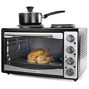 andrew james mini oven and grill with double hot plates 33. Black Bedroom Furniture Sets. Home Design Ideas
