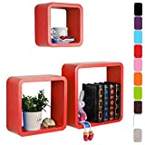 WOLTU RG9236nrt Wandregal Cubes, MDF Holz, Hängeregal Bücherregal, CD/DVD Aufbewahrung, Regal,Rein Rot