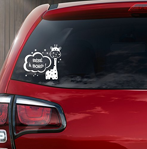 "Sticker autocollant blanc "" bébé à bord "" Petite Girafe"