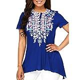 BHYDRY Frauen O-Ausschnitt Druckknopf Plus Size Kurzarm Bluse Top Tunika Shirt (5XL,Blau)
