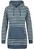 Blend SHE Cloey Damen Kapuzenpullover Hoodie Long Sweatshirt mit Fleece-Innenseite Longline Sweat-Kleid aus hochwertiger Baumwollmischung, Größe:XS, Farbe:Ensign Blue (70260)