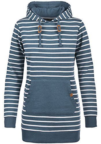 BLEND SHE Cloey Damen Kapuzenpullover Hoodie Long Sweatshirt mit Fleece-Innenseite Longline Sweat-Kleid aus hochwertiger Baumwollmischung, Größe:M, Farbe:Ensign blue (70260) (Fleece-kleid)