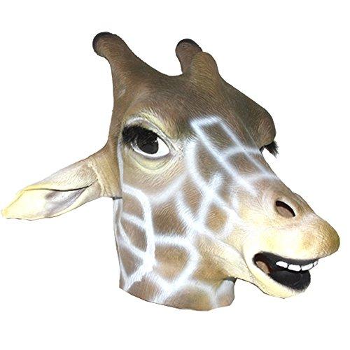Giraffe Anime Kostüm - Queenshiny® Latex Tiermaske Halloween-Party-Kostüm (Grau Giraffe)