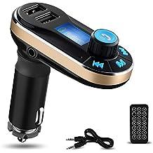 Bluetooth Reproductor de MP3 de coche YOKKAO con Transmisor FM y Control Remoto Soporte Manos Libres Bluetooth / SD / U Disco/ AUX / FM, Cargador de Coche con Duales USB Puertos para Recargar Smartphones, Tablets, etc. (Dorado)