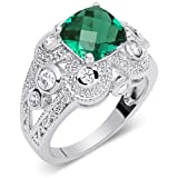 Revoni Dazzling 2.00 carats Cushion Cut Checker Board Created Emerald & White CZ Size N Gemstone Ring in Sterling Silver Rhodium Finish