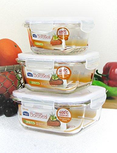 Frischhaltebox 3er Set Lock & Lock Boroseal Glas, quadratisch 300 ml / 500 ml und 750 ml
