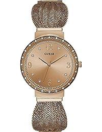 Guess Chiffon Analog Rose Gold Dial Women's Watch - W1083L3