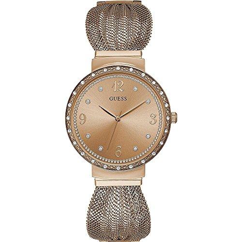 GUESS Chiffon Damen-Armbanduhr 36mm Armband Edelstahl Rosarot Batterie W1083L3