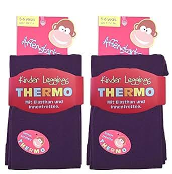 2 Stück Kinder Thermo Leggings mit flauschigem Innenfleece, Vollfrottee, tolle Unifarben (110/116, 2x brombeere)