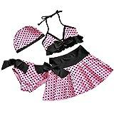 iEFiEL Filles 4 Pièce Maillot de Bain Enfant Fille Bikini Haut + Culotte +Jupe + Bonnet Rose à Pois Swimsuit Plage été (3-4 ans)