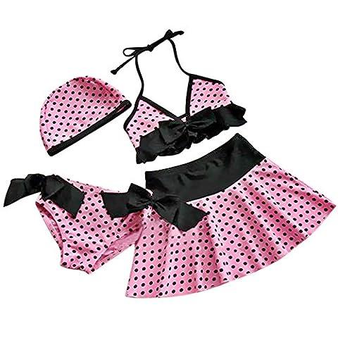 iEFiEL Filles 4 Pièce Maillot de Bain Enfant Fille Bikini Haut + Culotte +Jupe + Bonnet Rose à Pois Swimsuit Plage été (3-4