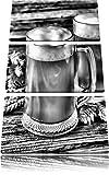 Monocrome, di birra di malto tedesca birra Birra 3 pezzi tela di canapa su tela 120x80, XXL Immagini enormi completamente Pagina con la barella, la stampa arte murale con telaio gänstiger come un quadro o di un dipinto a olio, nessun manifesto o poster