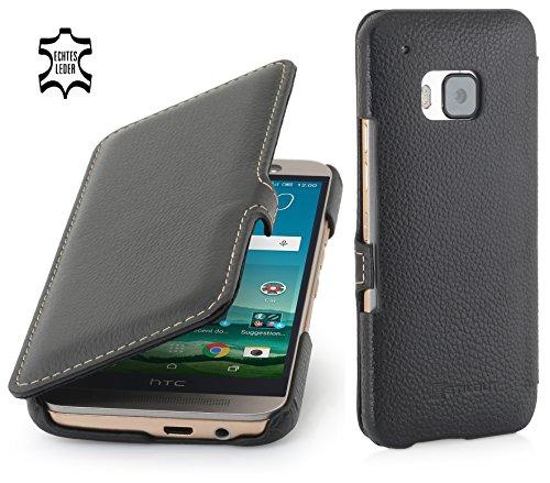 StilGut Book Type Case, Hülle Leder-Tasche für HTC One M9. Seitlich klappbares Flip-Case aus Echtleder für HTC One M9, Schwarz mit Clip