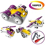 4 in 1 Building Toys Set - CARLORBO Building Blocks Assembled Model Toys Car Off-road Motorcycle Aircraft,Gift Idea Engineering Toys for 5 Year Old Boys - 100pcs