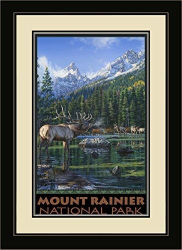 Northwest Art Mall Mount Rainier National Park Elch Challenge Berge gerahmtes Wandbild Kunst von Darrell Bush, 13von 40,6cm (Elch-mount)