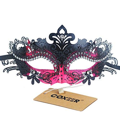 Preisvergleich Produktbild Coofit Damen Maskerade Maske Schmetterling Form Laser Schneiden Metall Mardi Gras Maske (One Size, Rosy & Black)