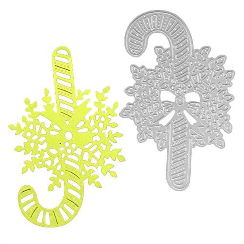 (NKYSM Weihnachten Krücken Stanzformen Schablone DIY Scrapbooking Prägepapier Karte Dekor Geschenk)