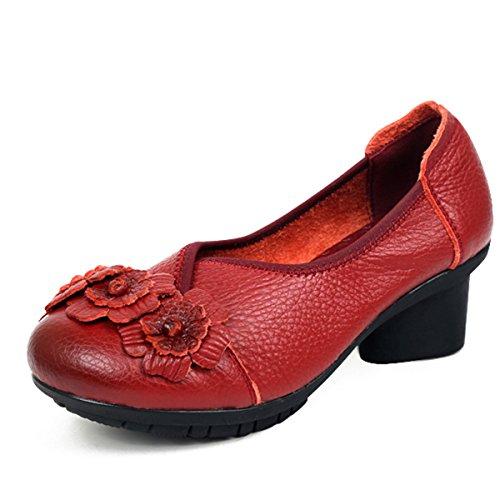Socofy Mocassins Femme, Chaussures de Ville en Cuir à fleurs Escarpins à Enfiler Slip On avec Talons Rond 5cm - Printemps Eté - Noire Bleue Rouge (Grille de poiture à voir) Rouge