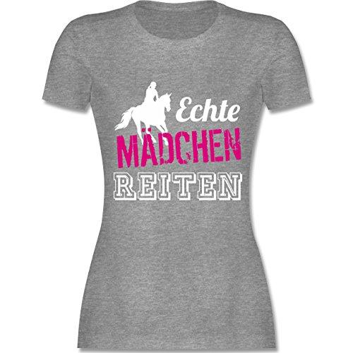 Reitsport - Echte Mädchen reiten - M - Grau meliert - L191 - Damen T-Shirt Rundhals