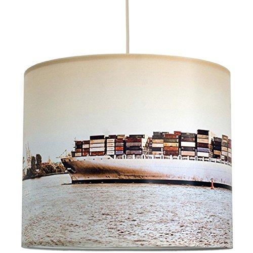anna wand Lampenschirm HAMBURG CONTAINERSCHIFF – Schirm für Lampen mit Containerschiff-Motiv in warmen Farben – Sanftes Licht für Tischleuchte / Stehlampe / Hängelampe im Wohnzimmer, Esszimmer, Schlafzimmer