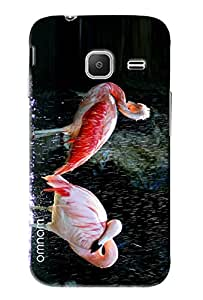 Omnam Two Swan Bathing In Rain Printed Designer Back Cover Case For Samsung Galaxy J1 Ace (J110)