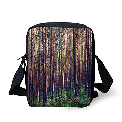 ZKHTO Farm House Decor,Forest in the Morning Light Tall Trees Trunks Greenery Natural Environment Picture,Green Brown Print Kids Crossbody Messenger Bag Purse Tall Iced Tea