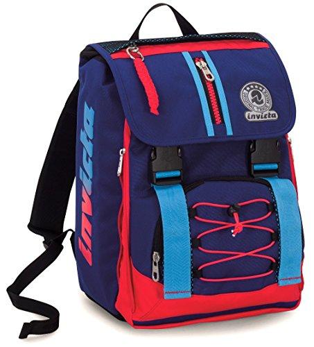 Zaino scuola estensibile invicta , kupang , blu rosso , 28 lt , elementari e medie