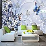 Kuamai Kundenspezifisches Modernes 3D Foto Vliestapete 3D Wandbild Tapete Blau Fantasy Lilie Schmetterling Wandbild Hintergrund Wand Für Wohnzimmer-200X140Cm