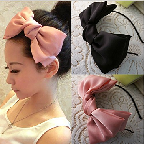 Big Bow Hair Hoop Fashion Satin solid Color Headband Large Bow Hair Hoop Korean Version, E ()