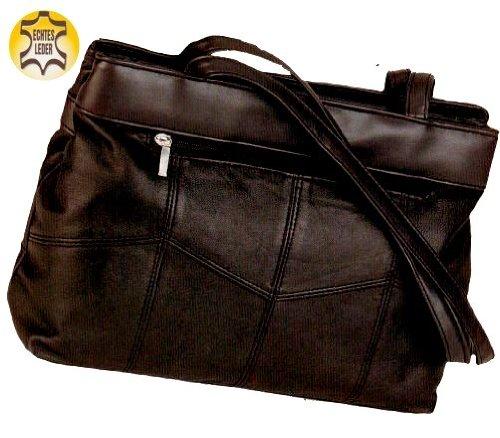 Alessandro LONDON CITY 1383 Handbag Damen Schultertasche ECHT LEDER mit Handyfach und RV-Rückfach in 2 Farben ca. 32/23/10 cm Braun