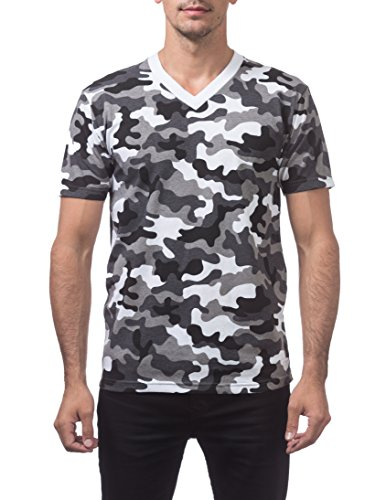 Pro Club Herren Comfort T-Shirt V-Ausschnitt - Weiß - Klein -