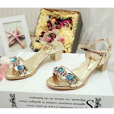 LFNLYX Donna tacchi Primavera / Autunno / Inverno piattaforma / Comfort materiali personalizzati / similpelle matrimonio abito / / Casual Chunky fibbia tacco Gold