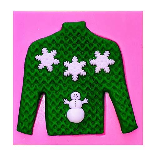 Fairie Blessings Silikon-Form für Kuchendekoration, Motiv Hässliche Weihnachten, Pullover, Schneeflocken und Schneemann, für Kuchen, Cupcakes, Dekoration, Zuckerguss, Werkzeug (Hässlich Weihnachten Pullover Dekorationen)