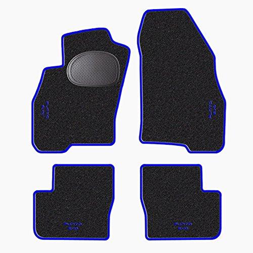 Tappetini-per-FIAT-Punto-Evo-battitacco-in-GOMMA-standard-moquette-NERO-bordo-BLU-cuciture-BLU-4-scritte-ricamate-col-BLU