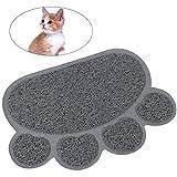 UEETEK Tapis de litière pour chat Tapis antidérapant Forme de pate Alimentation Eau Tapis de table Tapis pour chien Pet Cat Kitty, 30 * 40cm (Gris)