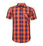 SOOPO Herren Kurzarm Hemden aus 100% Baumwolle Comfort Fit Freizeithemd Gelb Kariertes Männerhemd Orange und Navy XXXL