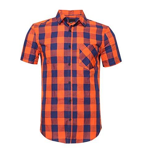 SOOPO Herren Kurzarm Hemden aus 100% Baumwolle Comfort Fit Freizeithemd Gelb Kariertes Männerhemd Orange und Navy L