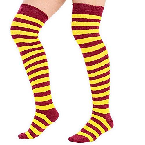 adam & eesa 3 Paar Frauen Volle Streifen über den Knie Socken Kostüm Overknees Cosplay Cheerleader Socken Kastanienbraun und gelb (Schwarz Adam Kostüm)