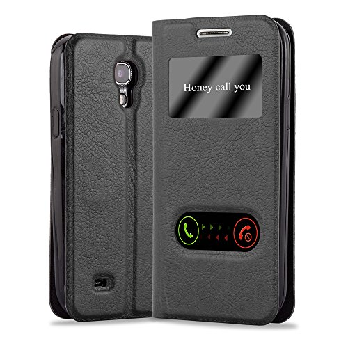 Cadorabo Coque pour Samsung Galaxy S4 en Noir COMÈTE - Housse Protection avec Stand Horizontal, Fente Carte et Deux Fenêtres - View Etui Poche Folio Case Cover
