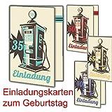 Einladungskarten zum Geburtstag als Klappkarte| Auto Motorrad Vintage Inkl. Druck Ihrer persönlichen Texte Lustige Geburtstagseinladungen individuell Karte Einladung 90 Stück