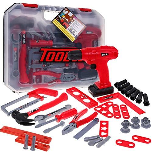 BSD Kinder Rollenspiele, Spielwerkzeg Set, Groß Spielzeug Werkzeug Set für Kinder, Spielzeug Elektrowerkzeuge und Handwerkzeuge
