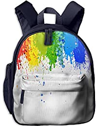 Mdad Colorful Paint Dripping Kids School Bag For 3-6 Years Navy
